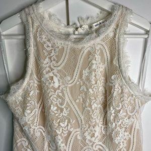 Mika & gala cream & nude lace sleeveless playsuit